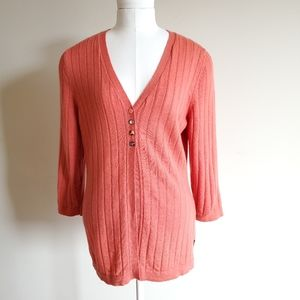 Woolrich ribbed orange merino wool cardigan